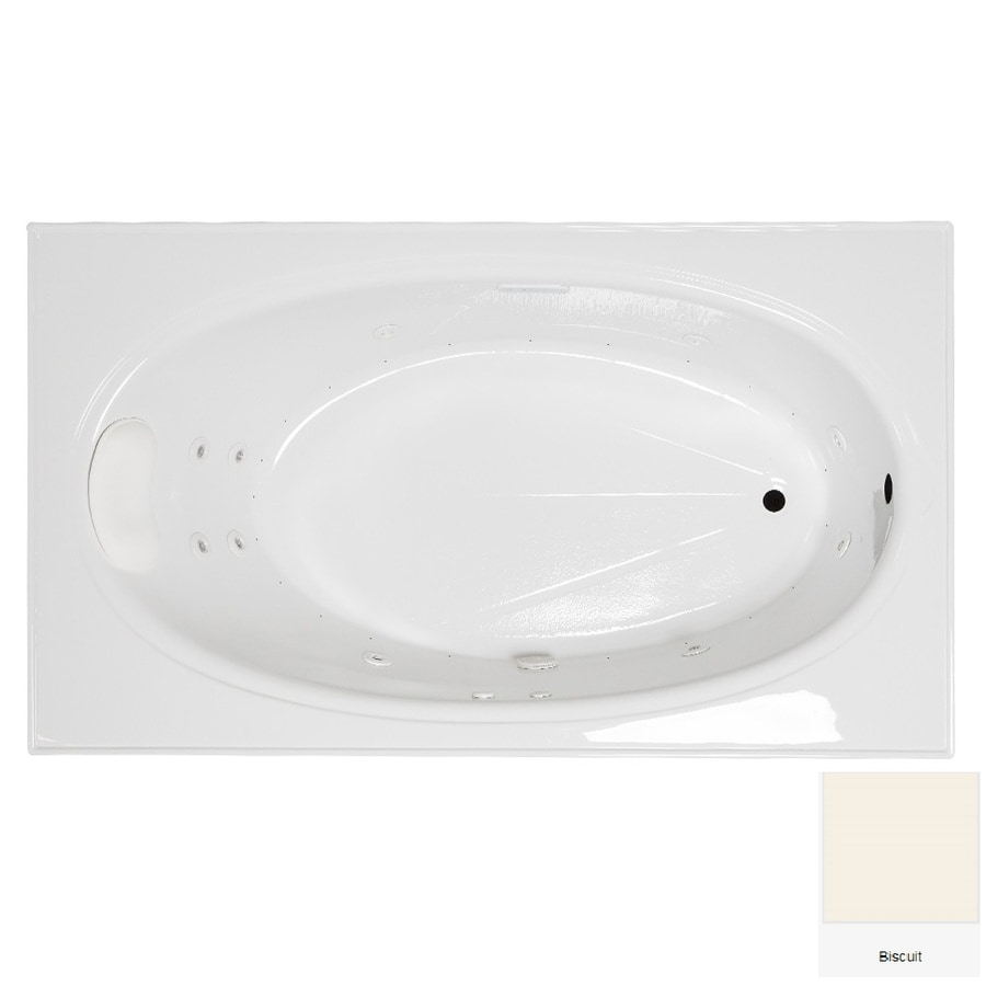 Laurel Mountain Everson 2 72-in Biscuit Acrylic Drop-In Whirlpool Tub And Air Bath with Reversible Drain