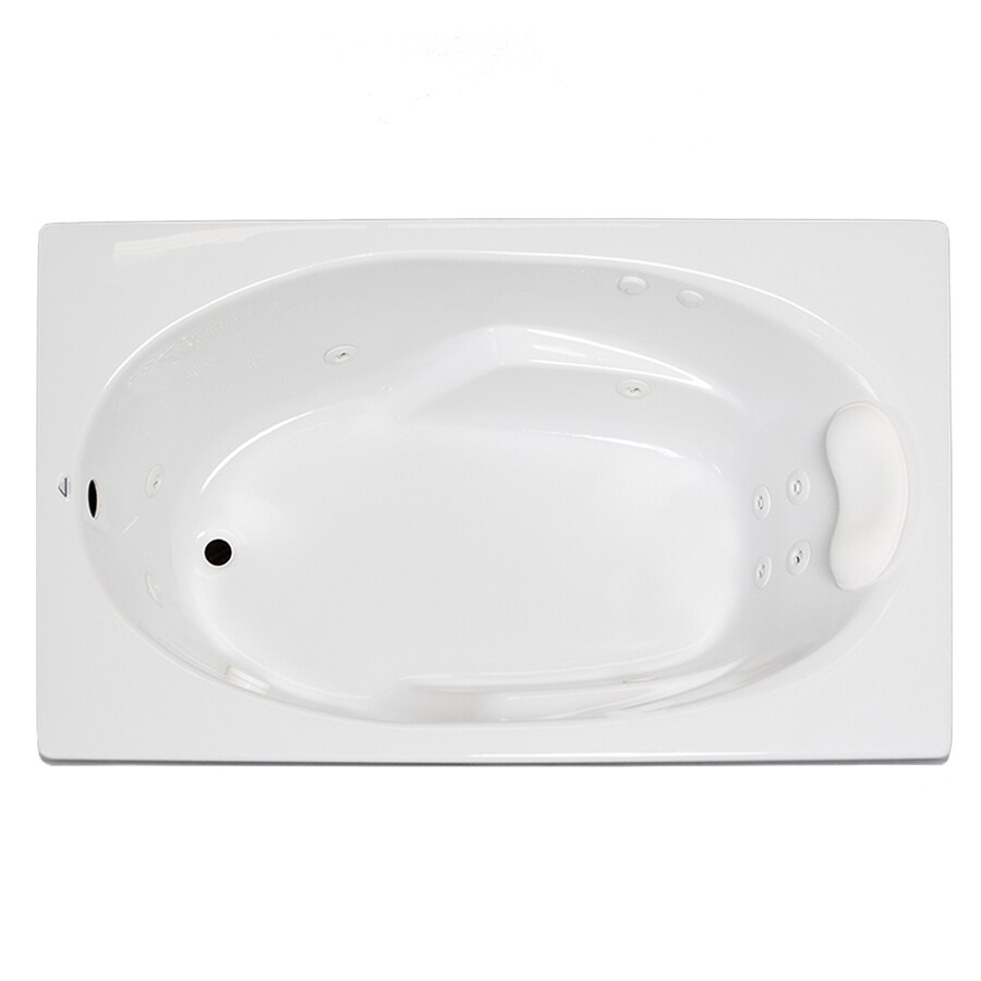 Laurel Mountain Faber 59-in White Acrylic Drop-In Whirpool Tub with Reversible Drain