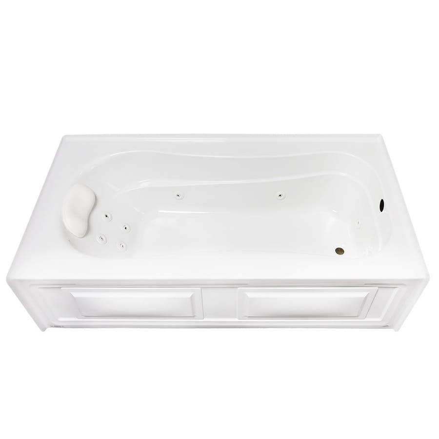 Laurel Mountain Raphine 72-in White Acrylic Alcove Whirpool Tub with Right-Hand Drain