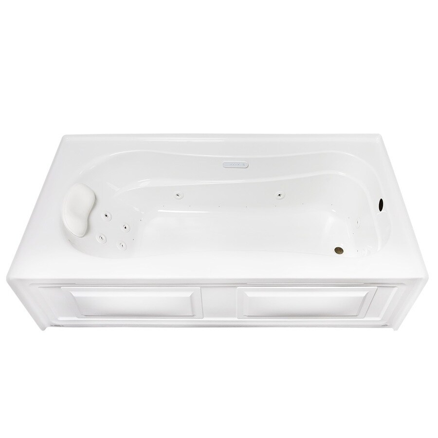 Laurel Mountain Raphine 72-in White Acrylic Alcove Whirlpool Tub And Air Bath with Right-Hand Drain