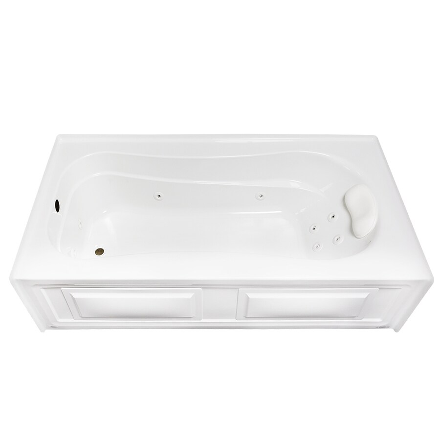 Laurel Mountain Raphine 72-in White Acrylic Alcove Whirpool Tub with Left-Hand Drain