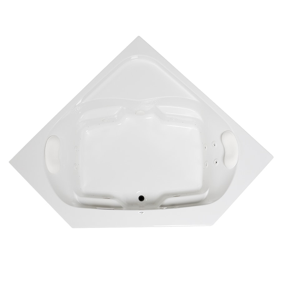 Laurel Mountain Lorton 60-in White Acrylic Drop-In Whirlpool Tub And Air Bath with Front Center Drain