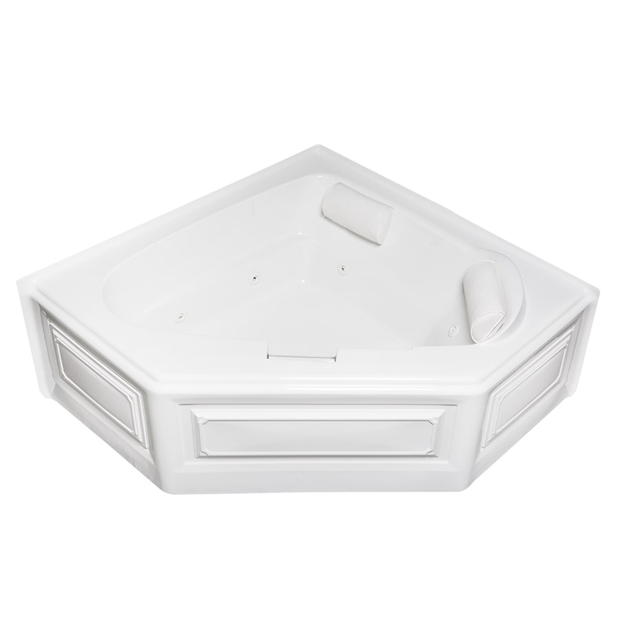 Laurel Mountain Hinton 60.5-in White Acrylic Skirted Whirpool Tub with Left-Hand Drain