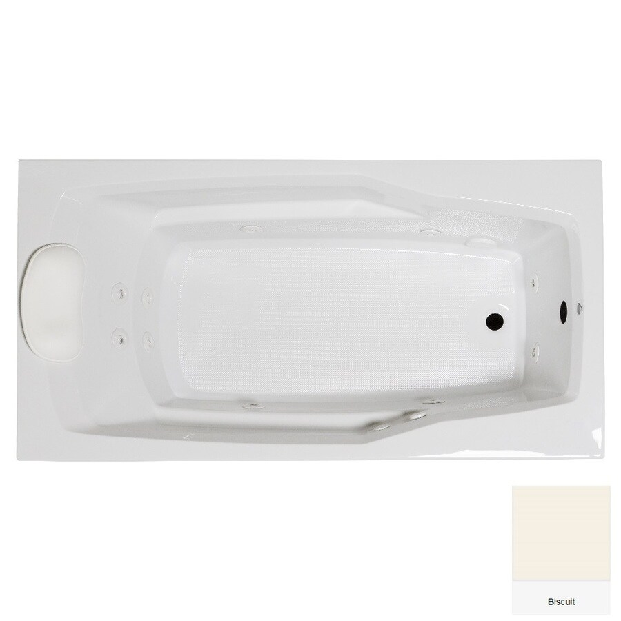 Laurel Mountain Withams 60-in Biscuit Acrylic Drop-In Whirpool Tub with Reversible Drain