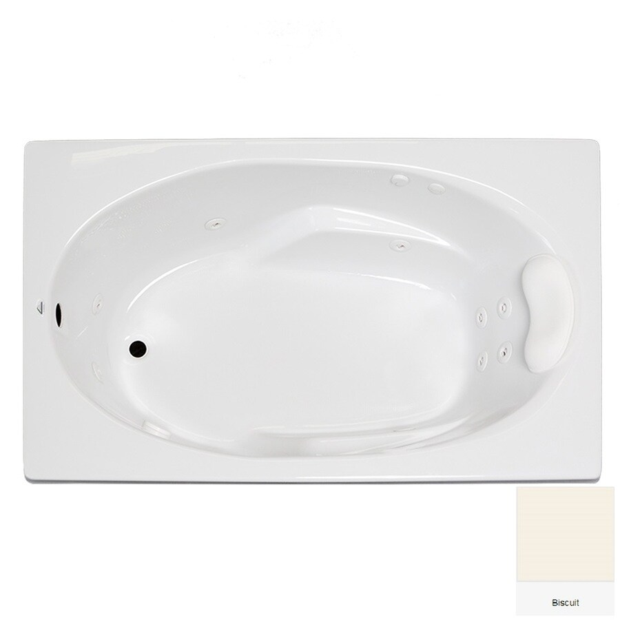 Laurel Mountain Faber 59-in Biscuit Acrylic Drop-In Whirpool Tub with Reversible Drain