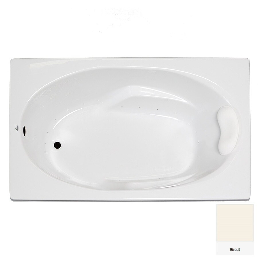 Laurel Mountain Faber 59-in Biscuit Acrylic Drop-In Air Bath with Reversible Drain
