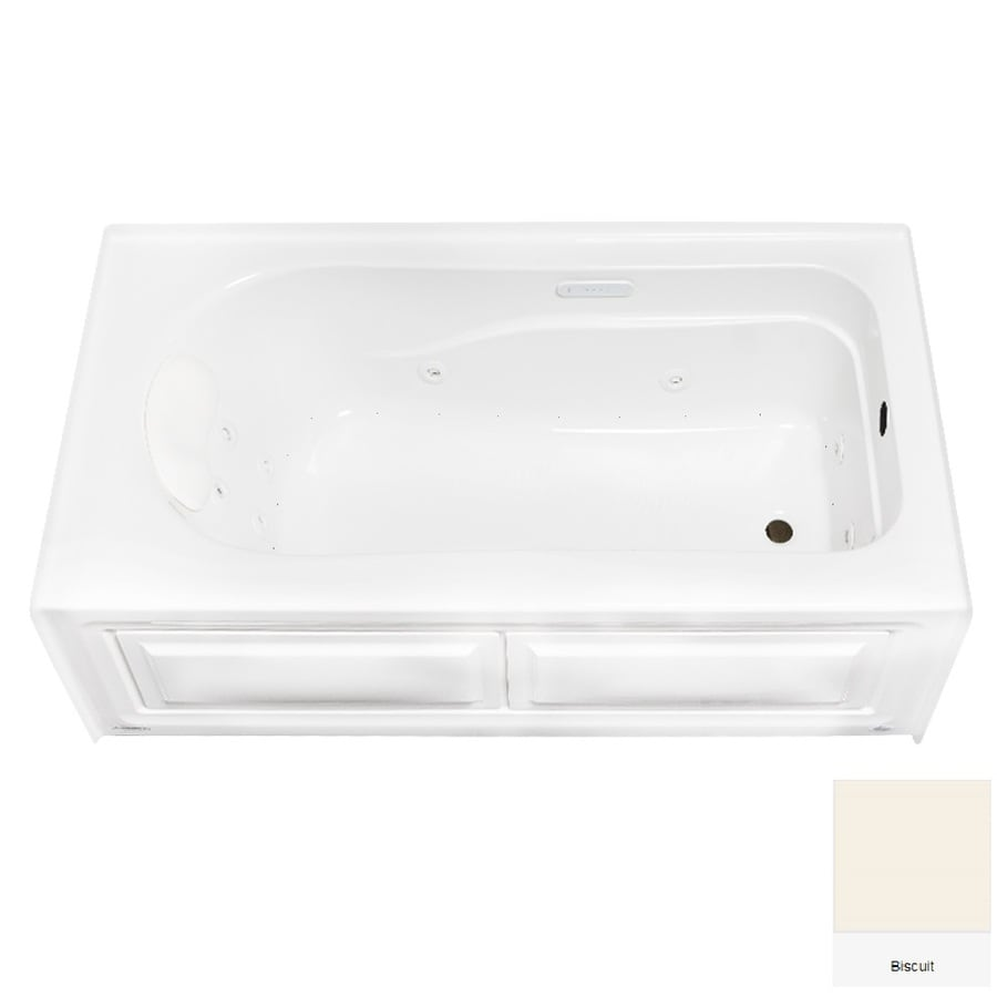Laurel Mountain Stephen 60-in Biscuit Acrylic Alcove Whirlpool Tub And Air Bath with Right-Hand Drain