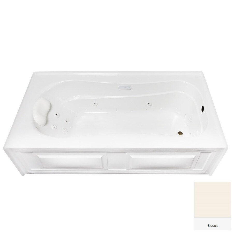 Laurel Mountain Raphine 72-in Biscuit Acrylic Alcove Whirlpool Tub And Air Bath with Right-Hand Drain