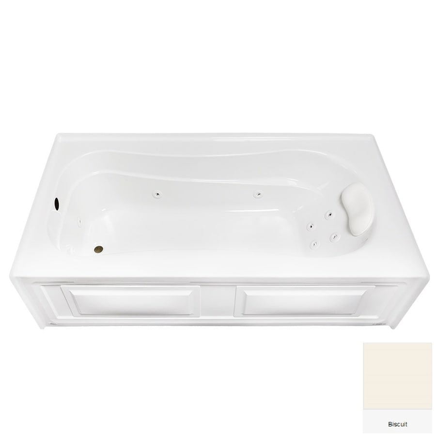 Laurel Mountain Raphine 72-in Biscuit Acrylic Alcove Whirpool Tub with Left-Hand Drain