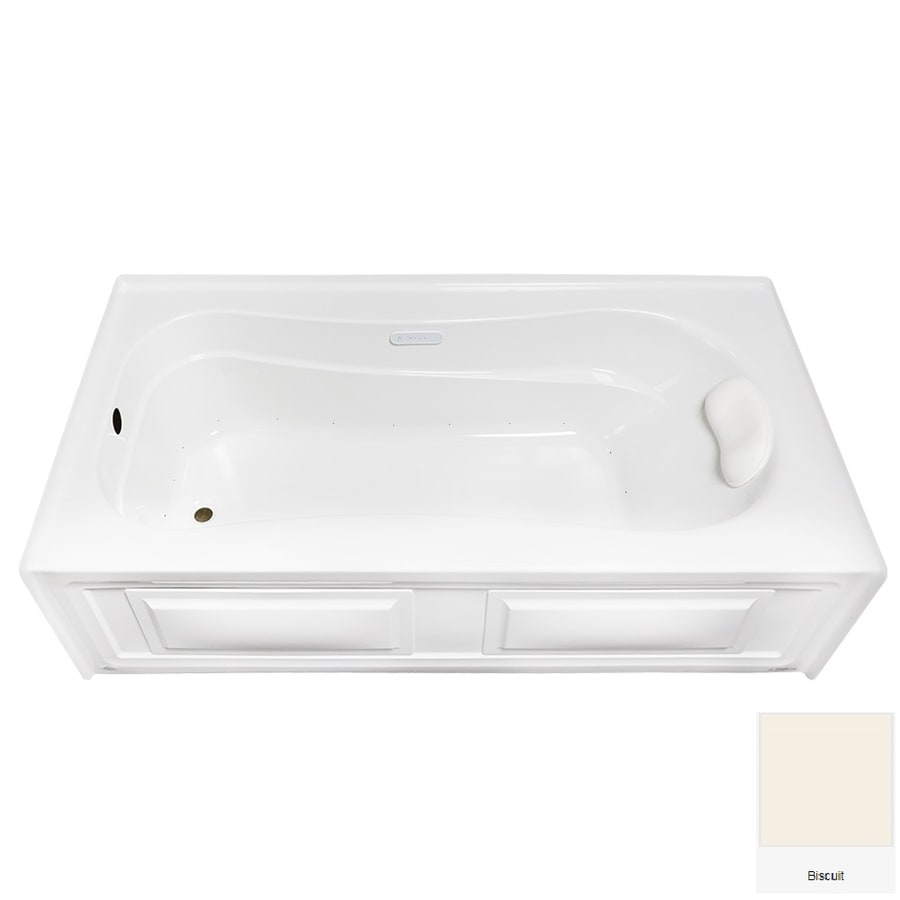 Laurel Mountain Raphine 72-in Biscuit Acrylic Alcove Air Bath with Left-Hand Drain