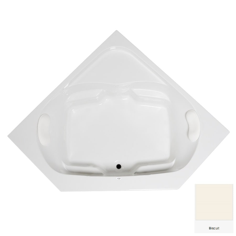 Laurel Mountain Lorton 60-in Biscuit Acrylic Drop-In Bathtub with Front Center Drain