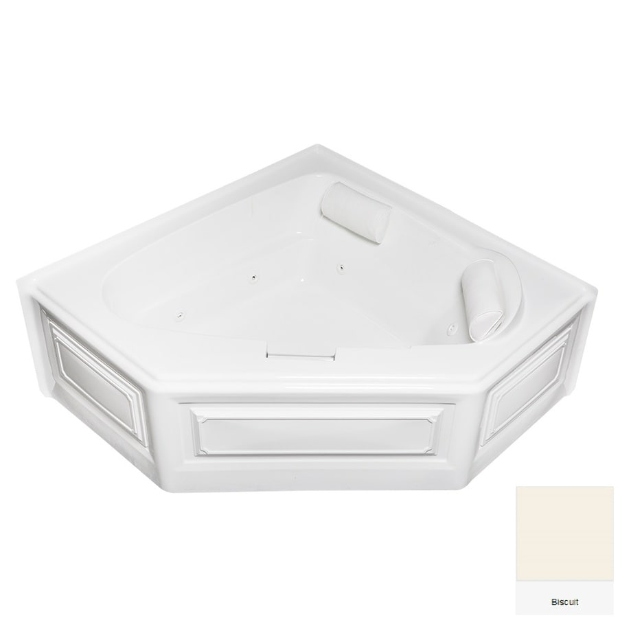 Laurel Mountain Hinton 60.5-in Biscuit Acrylic Skirted Whirpool Tub with Left-Hand Drain