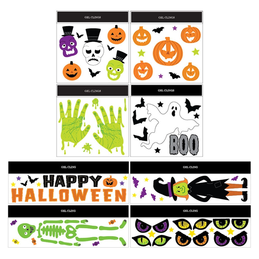 assorted halloween gel window clings - Halloween Window Clings