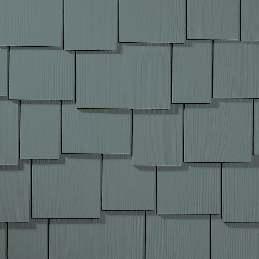 James Hardie Hardieshingle 15.25-in x 48-in Primed Boothbay Blue Woodgrain Fiber Cement Shingle Siding