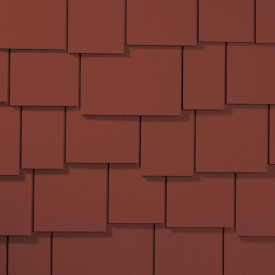 James Hardie 15.25-in x 48-in HardieShingle Primed Traditional Red Woodgrain Fiber Cement Shingle Siding