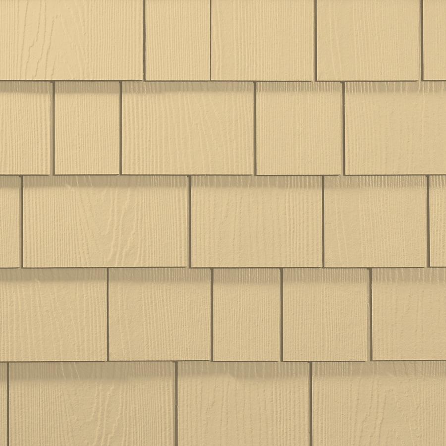 James Hardie Hardieshingle 15.25-in x 48-in Primed Woodland Cream Woodgrain Fiber Cement Shingle Siding