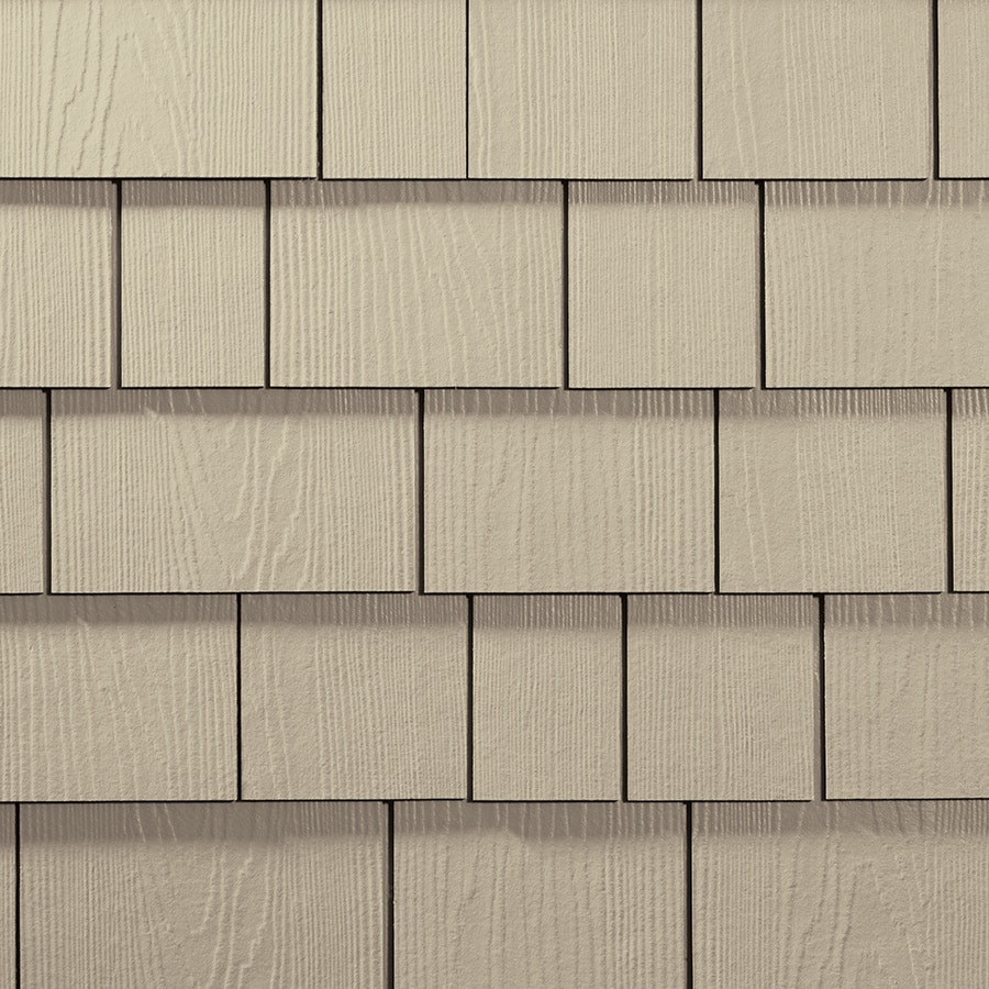 James Hardie 15.25-in x 48-in HardieShingle Primed Navajo Beige Woodgrain Fiber Cement Shingle Siding