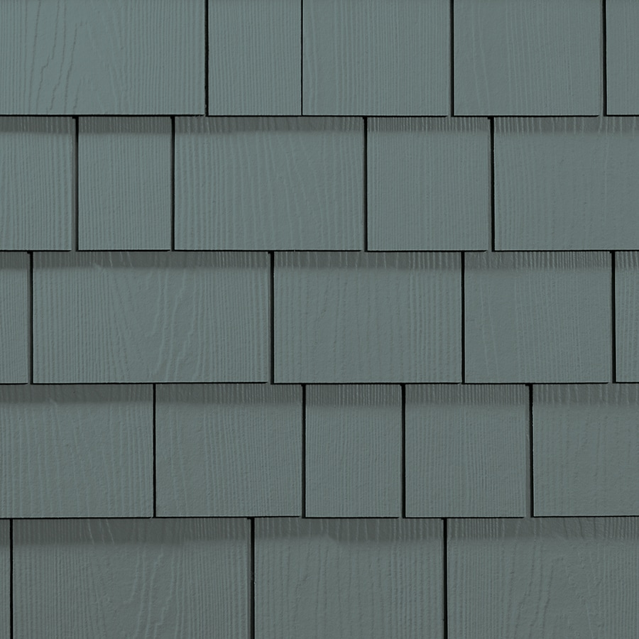 James Hardie 15.25-in x 48-in HardieShingle Primed Boothbay Blue Woodgrain Fiber Cement Shingle Siding