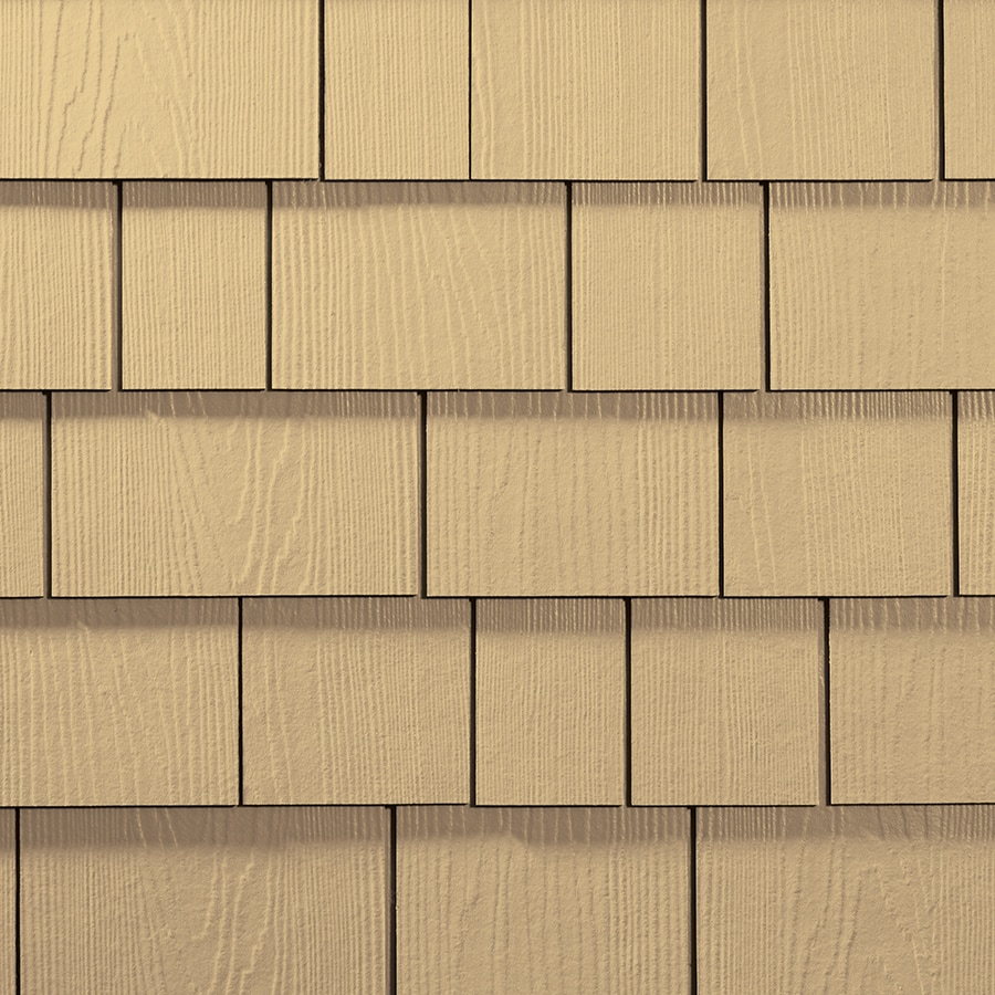 James Hardie 15.25-in x 48-in HardieShingle Primed Harris Cream Woodgrain Fiber Cement Shingle Siding