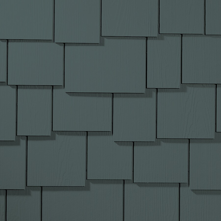 James Hardie 15.25-in x 48-in HardieShingle Primed Evening Blue Woodgrain Fiber Cement Shingle Siding