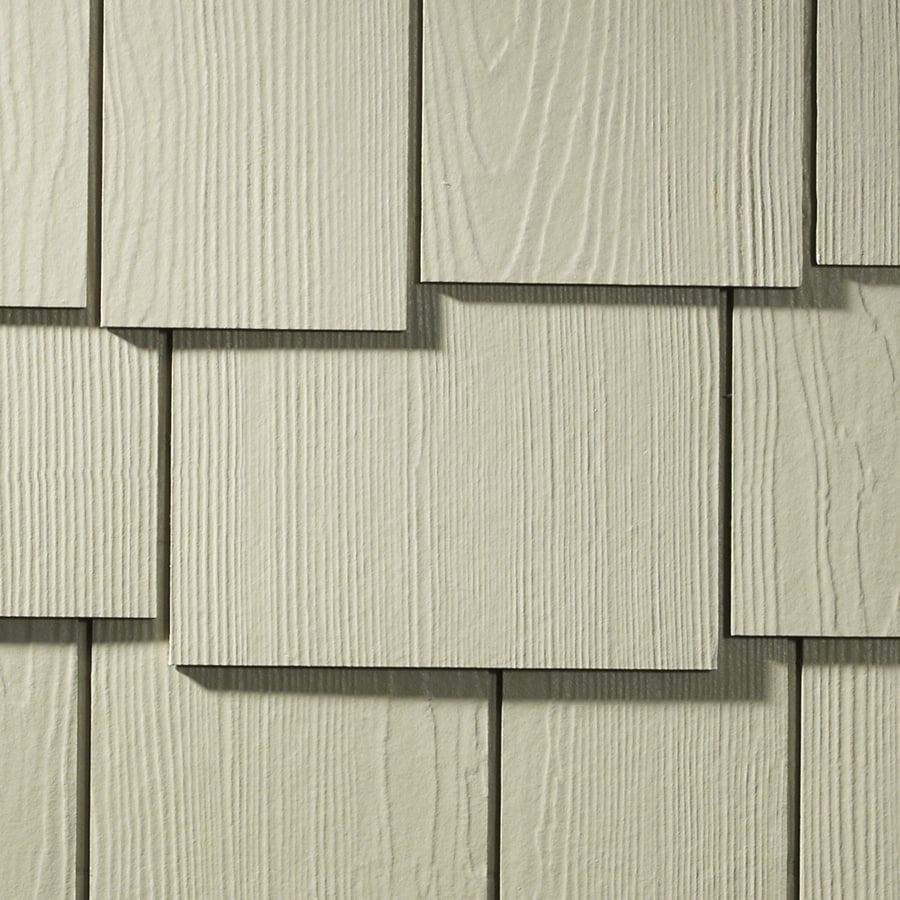 James Hardie Hardieshingle 15.25-in x 48-in Primed Harris Cream Woodgrain Fiber Cement Shingle Siding