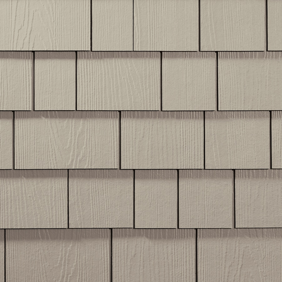 James Hardie 15.25-in x 48-in HardieShingle Primed Cobble Stone Woodgrain Fiber Cement Shingle Siding