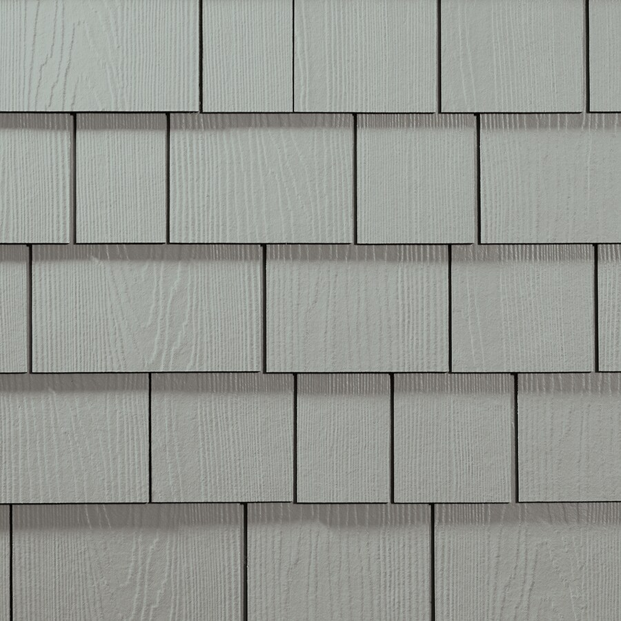 James Hardie HardieShingle 15.25-in x 48-in Primed Light Mist Woodgrain Fiber Cement Shingle Siding
