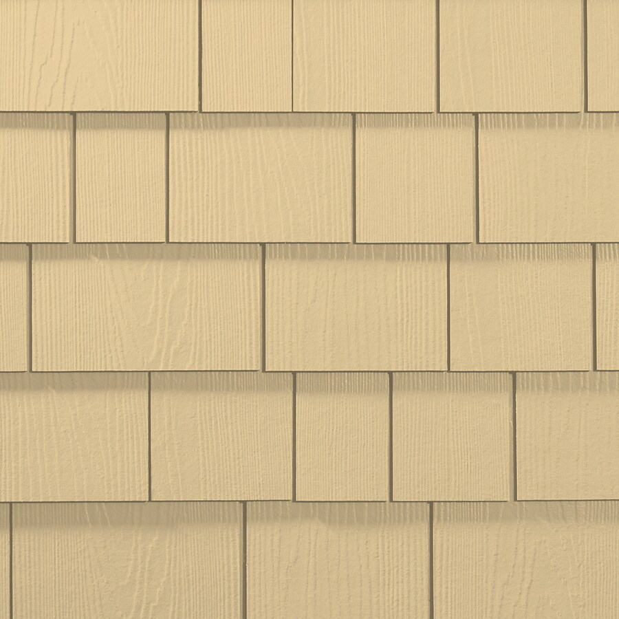James Hardie Hardieshingle 15.25-in x 6.738-in Primed Woodland Cream Woodgrain Fiber Cement Shingle Siding