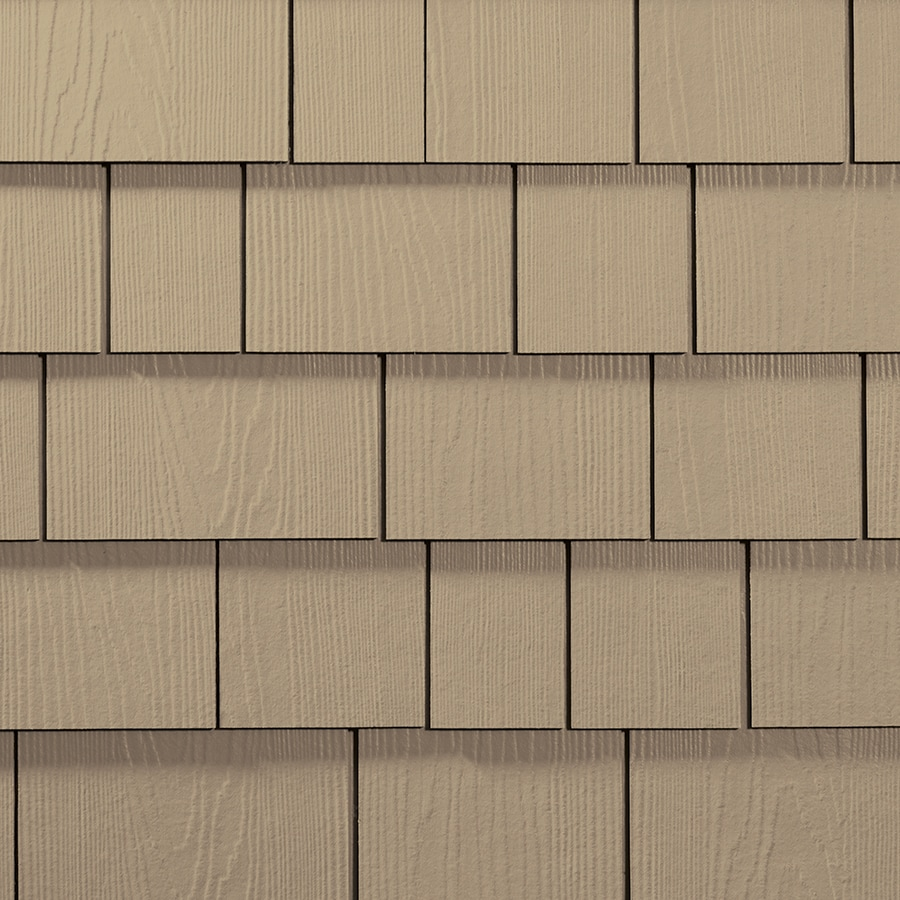 James Hardie 15.25-in x 6.738-in HardieShingle Primed Autumn Tan Woodgrain Fiber Cement Shingle Siding