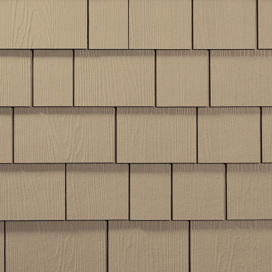 James Hardie 15.25-in x 6.738-in HardieShingle Primed Autumn Tan Woodgrain Fiber Cement Shingle Siding