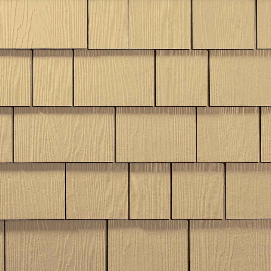 James Hardie 15.25-in x 6.738-in HardieShingle Primed Harris Cream Woodgrain Fiber Cement Shingle Siding