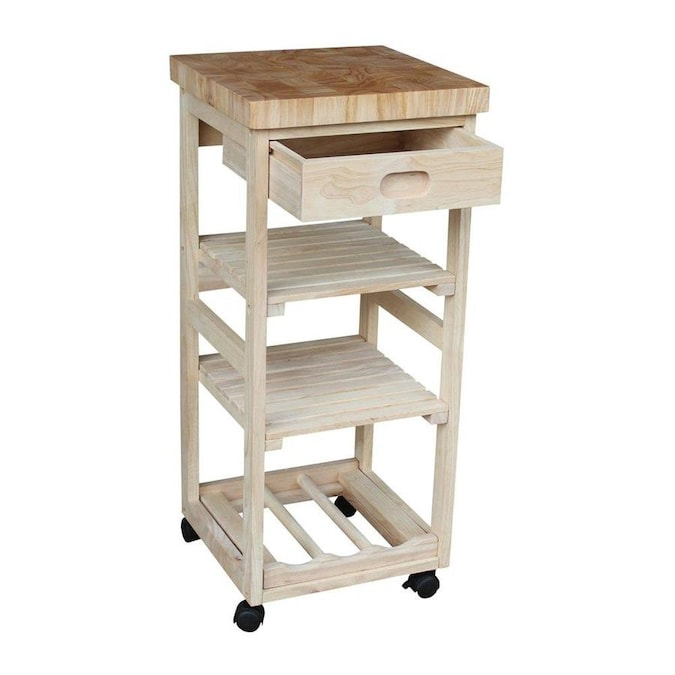 International Concepts Brown Wood Base With Wood Butcher