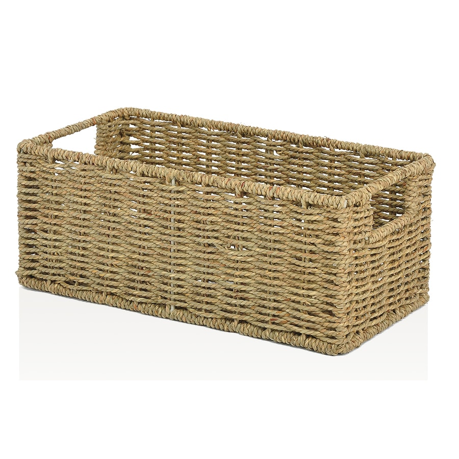 allen + roth 7.15-in W x 5.5-in H x 14.25-in D Natural Sea Grass Basket
