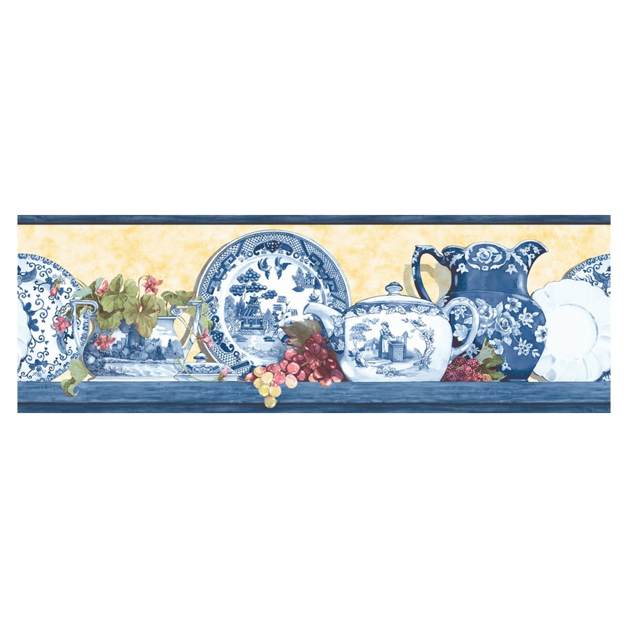 Blue bathroom wallpaper border - Allen Roth 6 7 8 Yellow And Blue Willow Prepasted Wallpaper Border