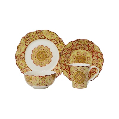 222 Fifth 16 Piece Yellow Dinnerware At Lowes Com