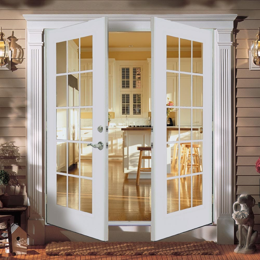 Reliabilt 5 French Patio Door Wind Code Roved Steel 15 Lite Insulated Gl White Out Swing Brick Mold Left Hand Screen Not Included