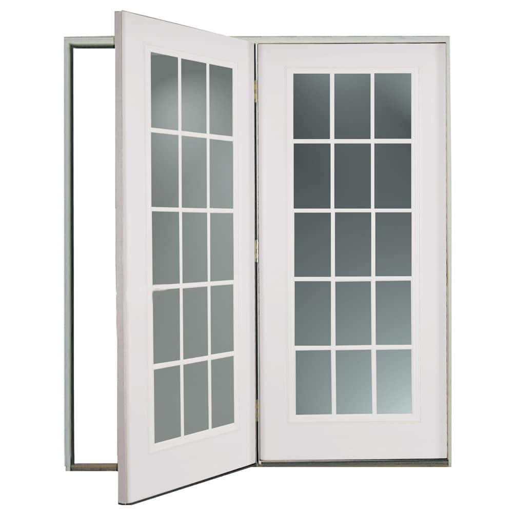 ReliaBilt® 6u0027 ReliaBilt Center Hinged Patio Door Steel 15 Lite Insulated  Glass White