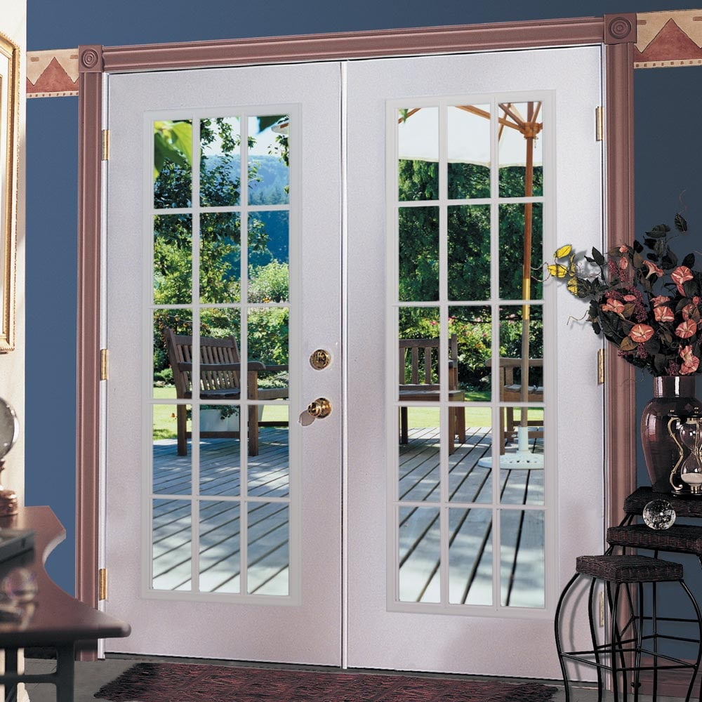 ReliaBilt® 6u0027 ReliaBilt French Patio Door Steel 15 Lite Insulated Glass  White In