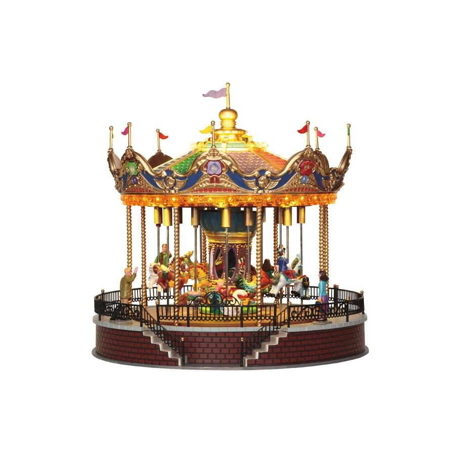 carole towne christmas plastic lighted musical animatronic sunshine carousel christmas collectible