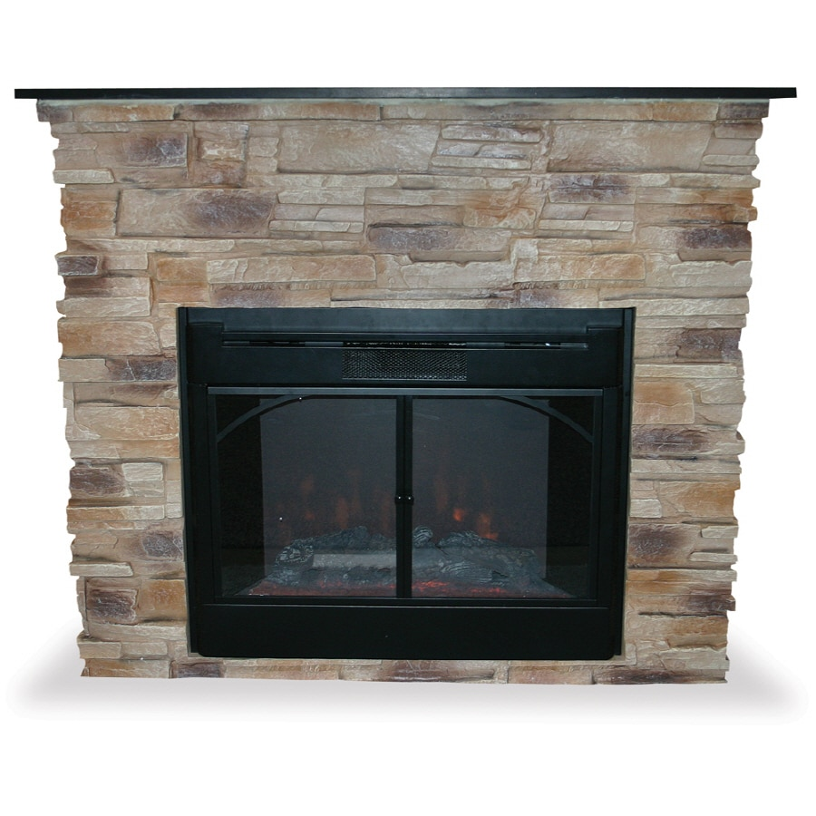 Shop UniFlame 45.3-in W Natural Stone- Tan Electric Fireplace with ...