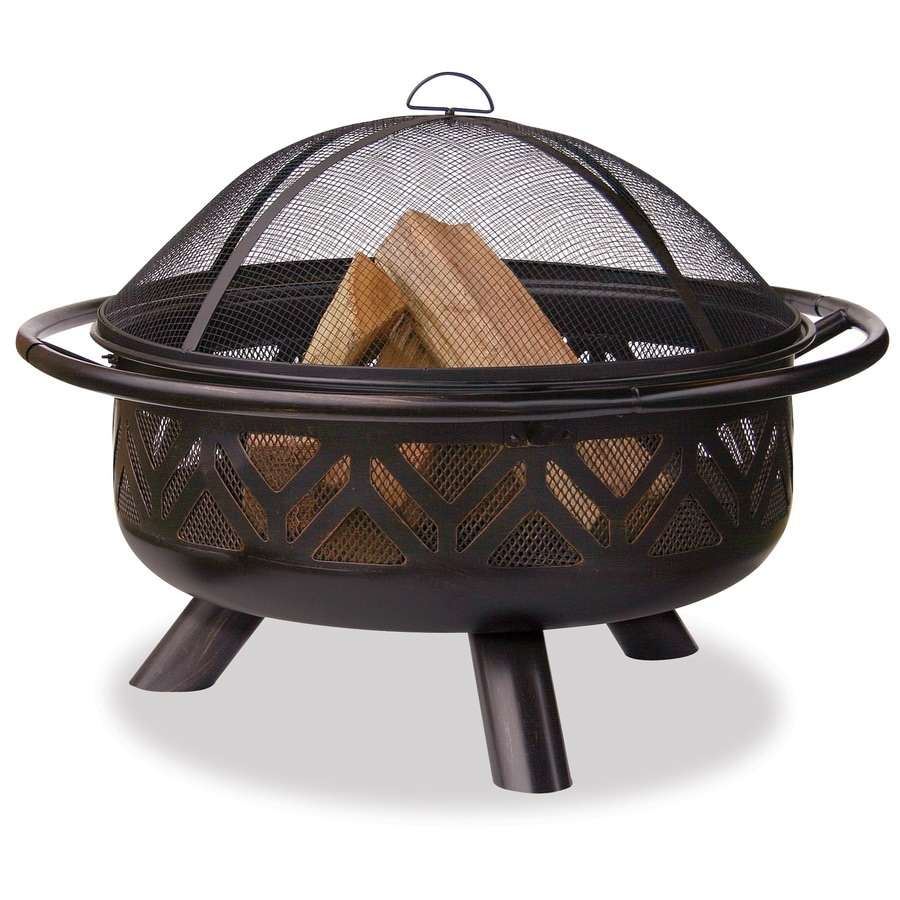 Fire pit, Fire pit cover, Spark screen, Grate, Poker tool Description Gather around the Red Ember Rubbed Bronze Crossweave 36 inch wood-burning Fire Pit-With Free Grill Grate and Cover for a cozy backyard evening with friends and family.