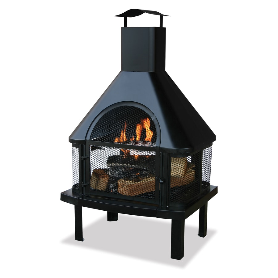 Black Steel Outdoor Wood-Burning Fireplace - Shop Outdoor Fireplaces At Lowes.com