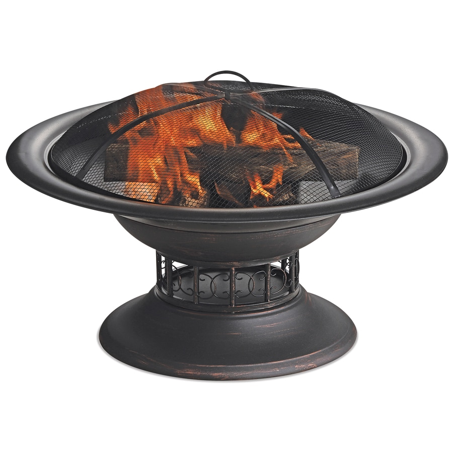 Blue Rhino 32 In W Black Steel Wood Burning Fire Pit