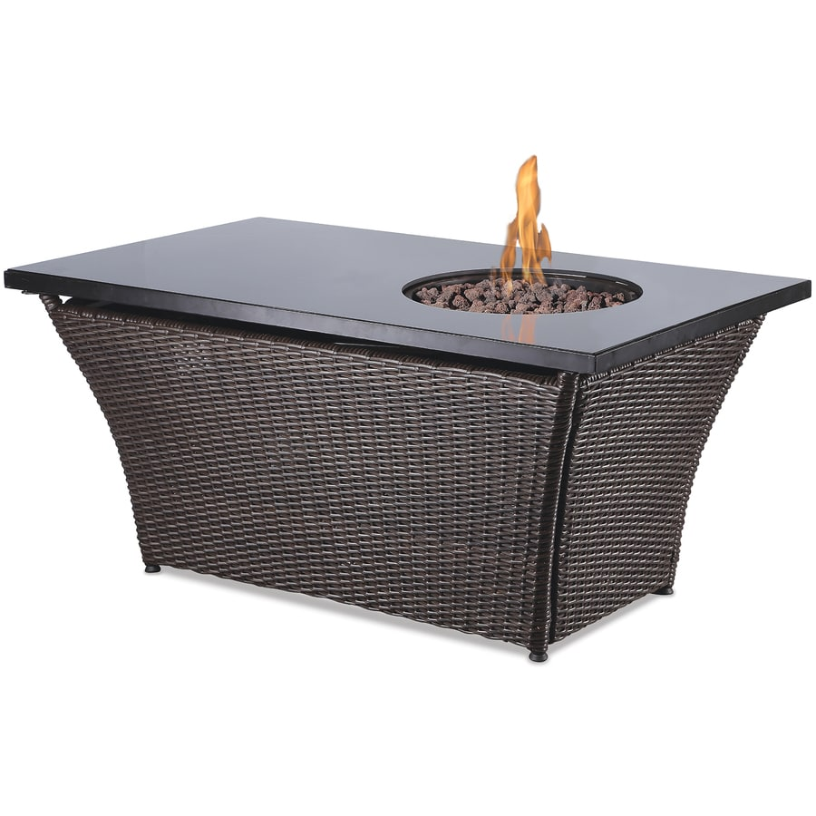 Endless Summer 48-in W 50,000-BTU Black Glass and Dark Brown Wicker Steel Liquid Propane Fire Table