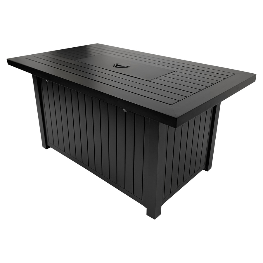 Allen Roth Rectangle 28 In W 40000 Btu Black Steel Propane Gas Fire Pit In The Gas Fire Pits Department At Lowes Com