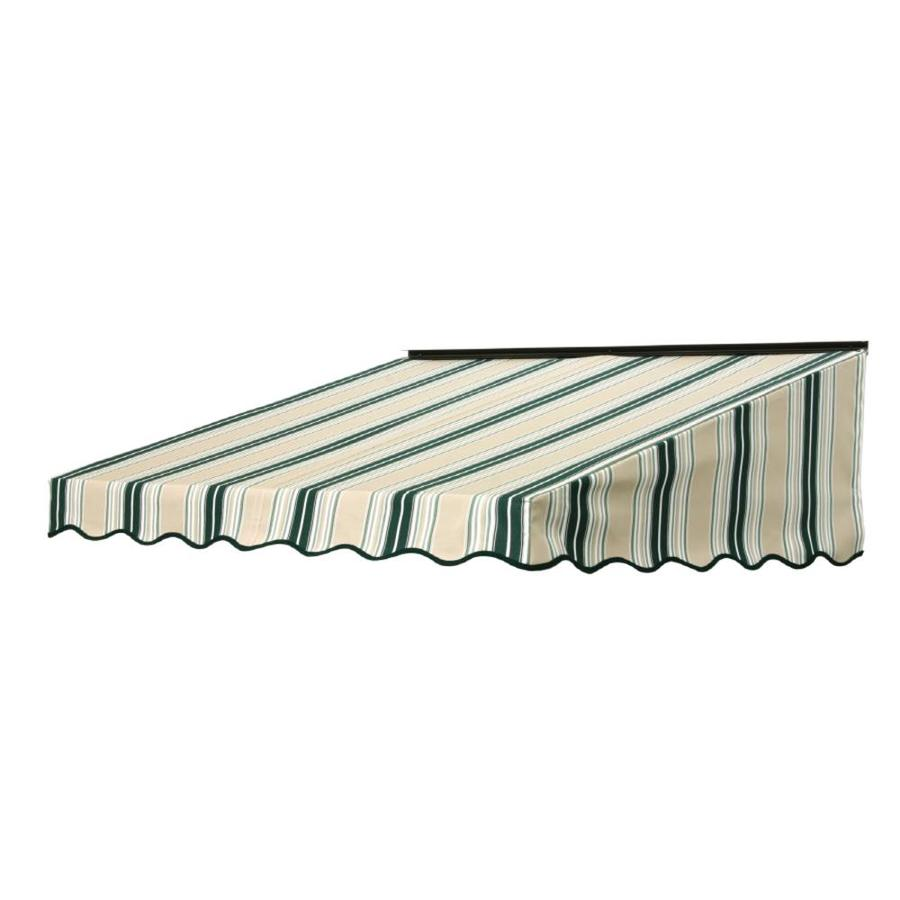 NuImage Awnings 84-in Wide x 41-in Projection Forest Green/Beige/Natural Fancy Stripe Slope Door Awning