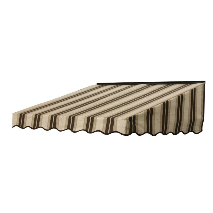 NuImage Awnings 84-in Wide x 47-in Projection Chocolate Chip Fancy Stripe Slope Door Awning