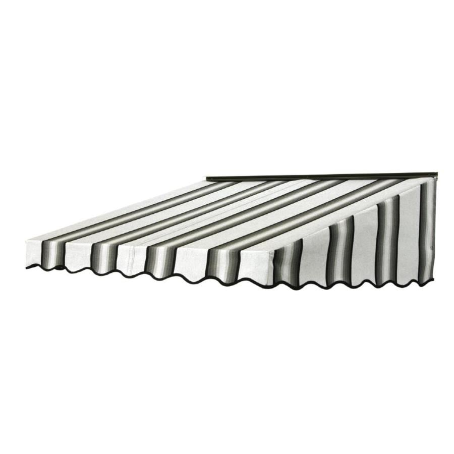 NuImage Awnings 84-in Wide x 47-in Projection Grey/Black/White Stripe Slope Door Awning
