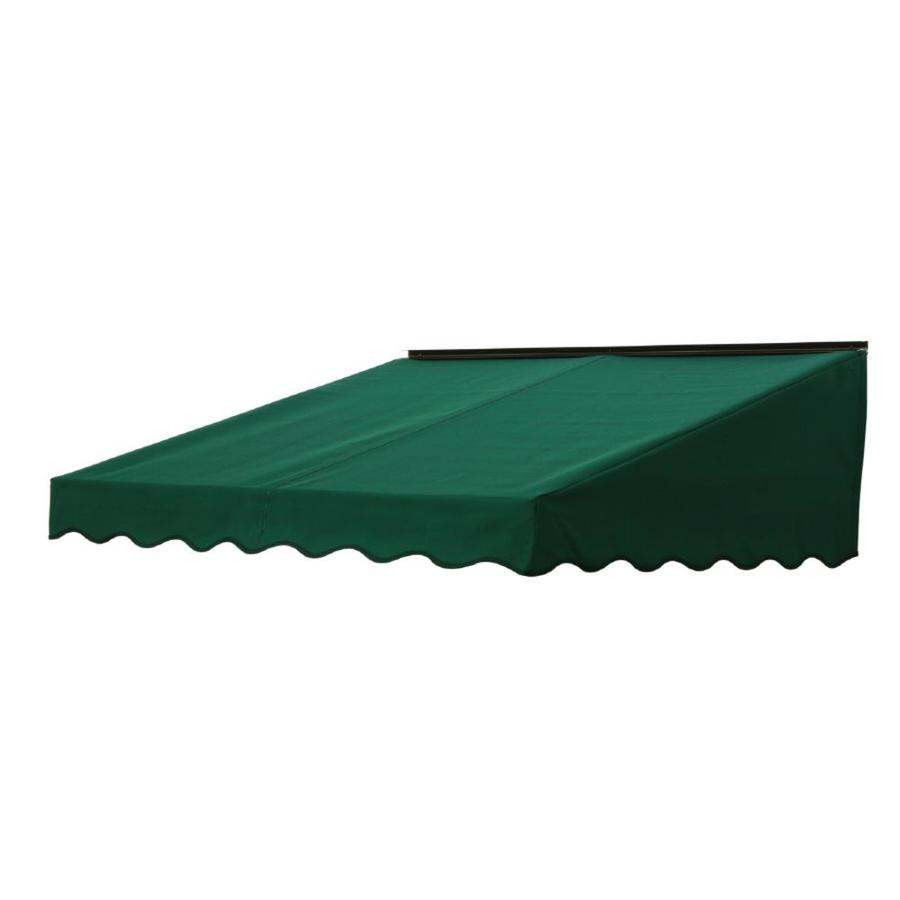 NuImage Awnings 84-in Wide x 47-in Projection Hunter Green Solid Slope Door Awning