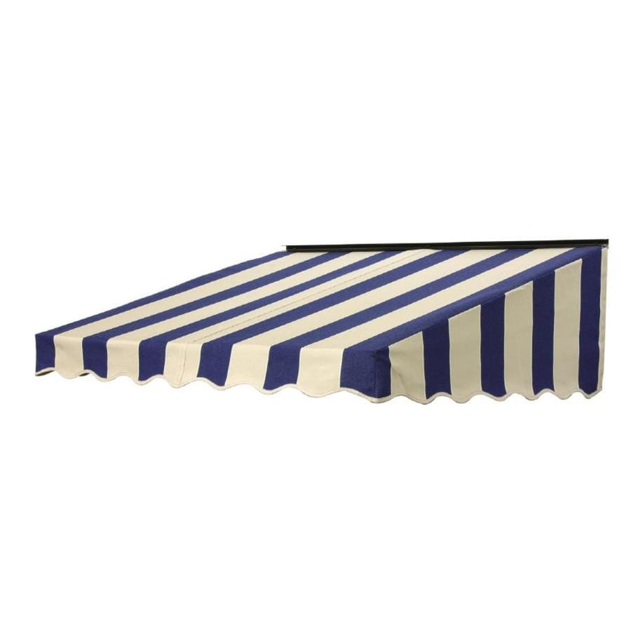 NuImage Awnings 84-in Wide x 41-in Projection Mediterranean/Canvas Block Stripe Slope Door Awning